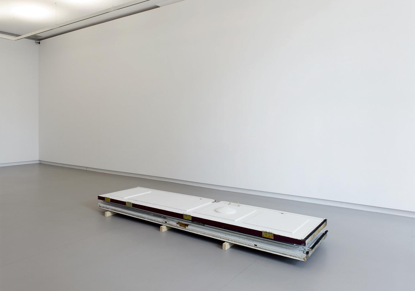 <p><em>Denial</em>, 2015, entrance doors, removed just before mounting the exhibition and replaced right after deinstalling</p>