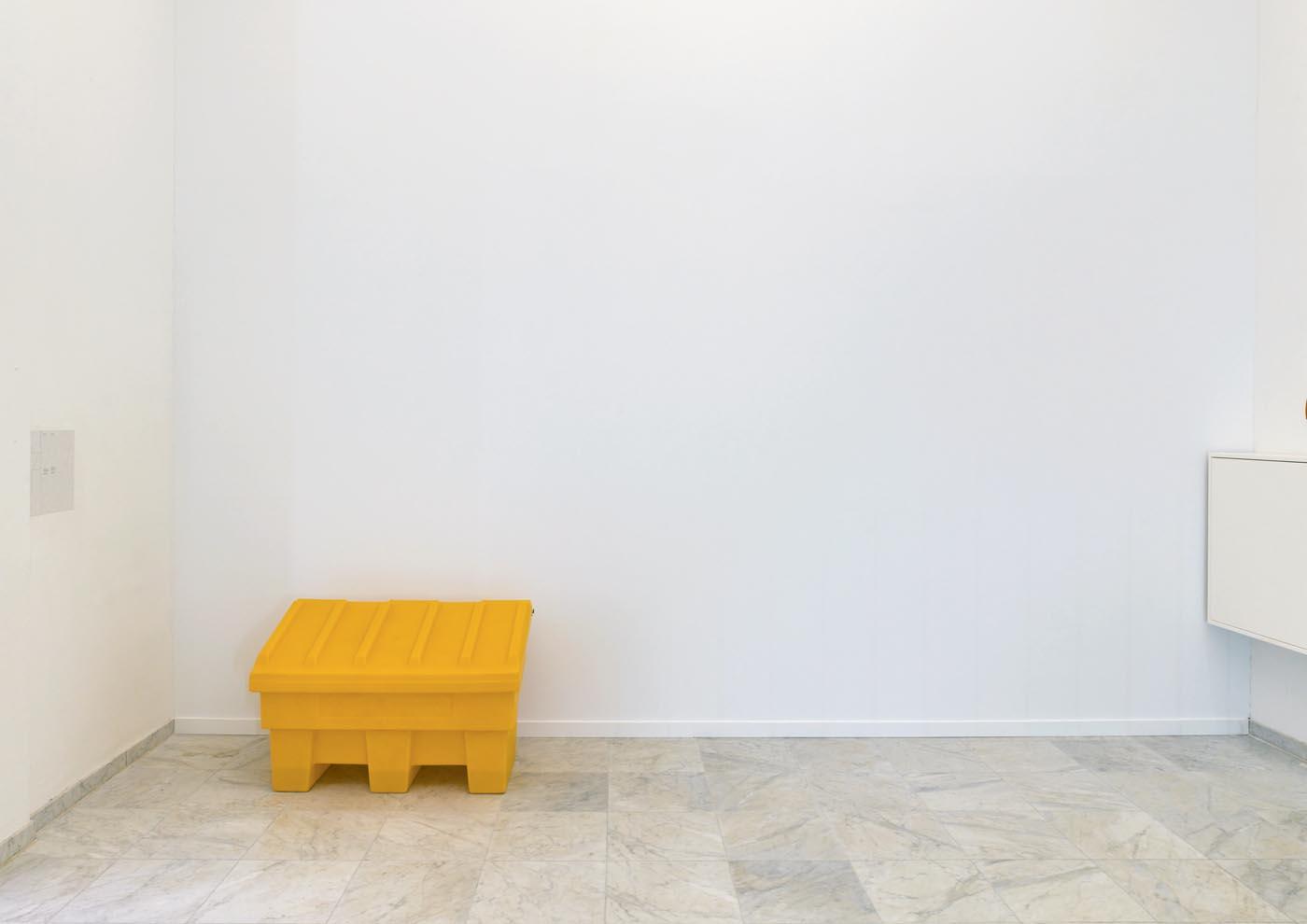 <p><em>Untitled</em>, 2015, 963×512×493cm, wood, plasterboard, wall paint<br /><em>A Surface</em>, 2015, salt box, water</p>