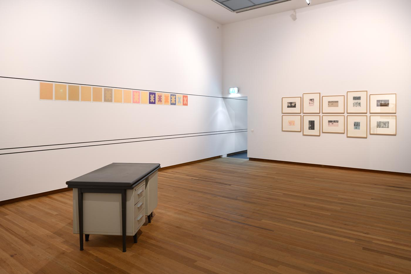 exhibition view with<i>Lessened Space</i> by gerlach en koop, and works by Ernst Caramelle and Peter Doig. Photo Peter Cox