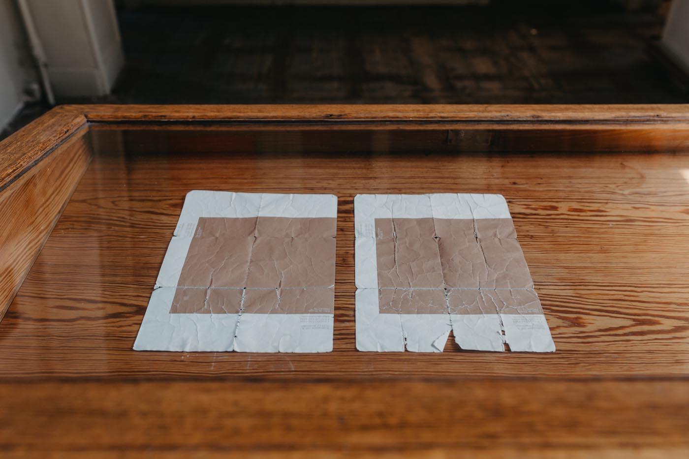 <p><em>wear and tear (ellen de bruijne)</em>, 2010, stationery of Ellen de Bruijne Projects carried in back pockets for eleven weeks, A4</p>